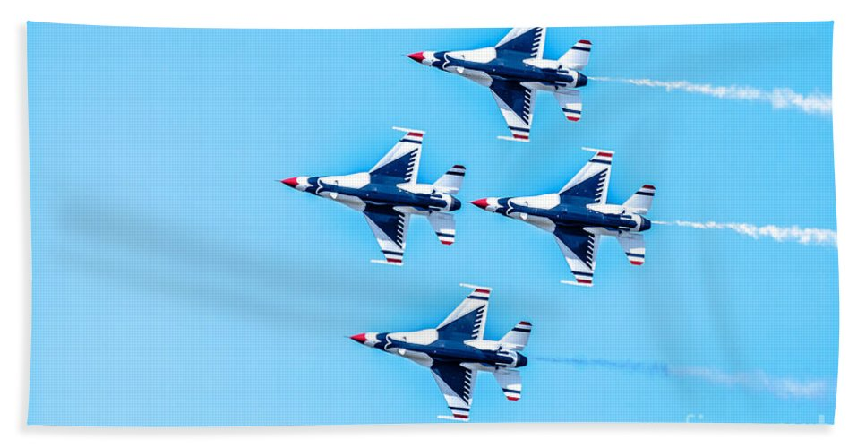 Thunderbirds Bath Sheet featuring the photograph Thunderbirds Flying Over by Amel Dizdarevic