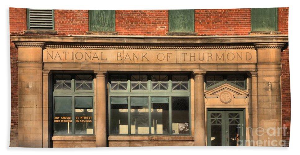 Thurmond Hand Towel featuring the photograph Thurmond Bank Of West Virginia by Adam Jewell