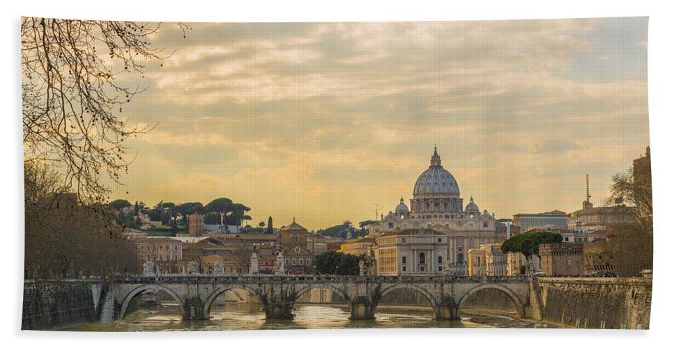River Hand Towel featuring the photograph Tiber River by Mats Silvan