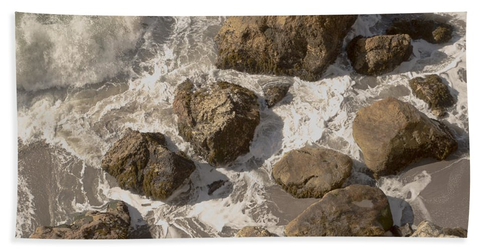 Barbara Snyder Bath Sheet featuring the digital art Tide Pools Of Shell Beach California by Barbara Snyder