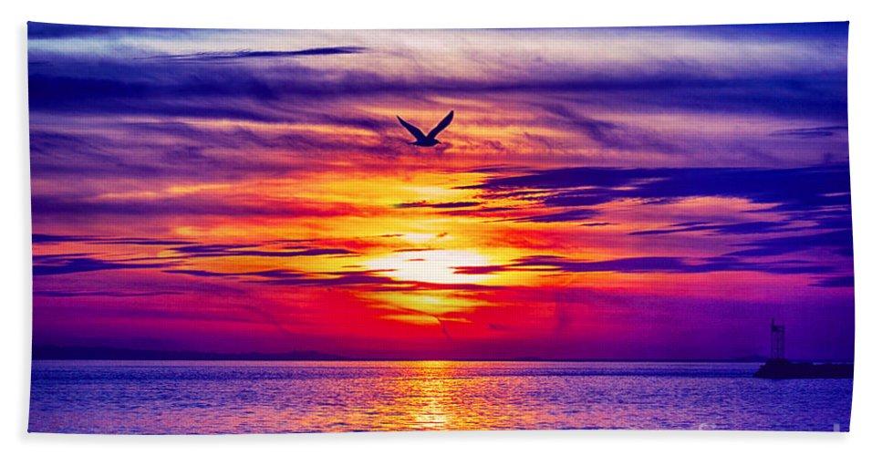 Sun Bath Sheet featuring the photograph Tie Dyed Sky by Joe Geraci