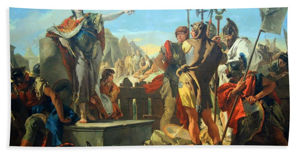 Queen Zenobia Addressing Her Soldiers Bath Sheet featuring the photograph Tiepolo's Queen Zenobia Addressing Her Soldiers by Cora Wandel