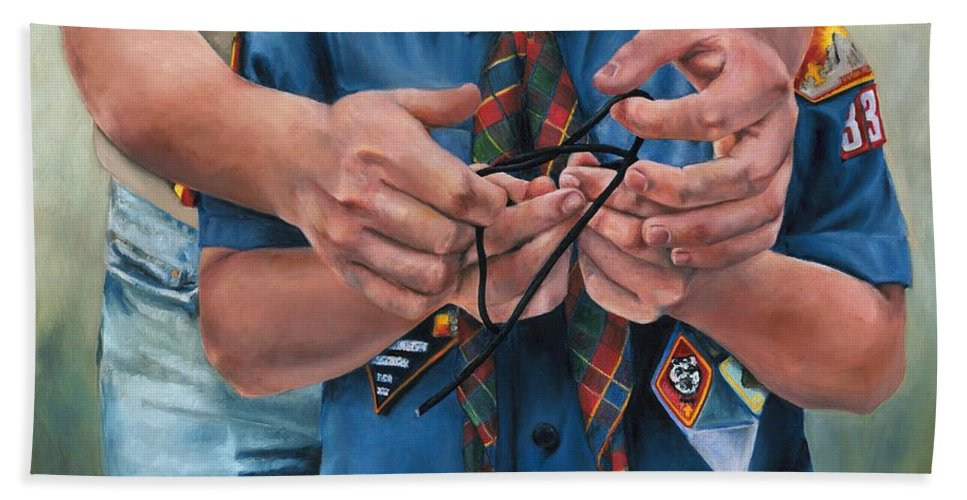Scout Bath Sheet featuring the painting Ties That Bind by Lori Brackett