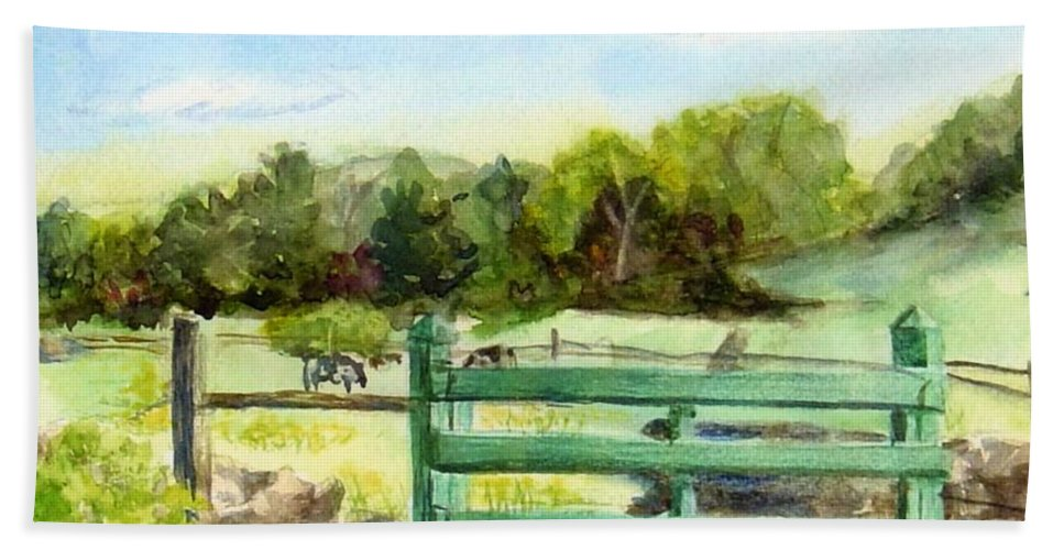 Watercolor Hand Towel featuring the painting Tiffany Farms East Gate by Katherine Berlin