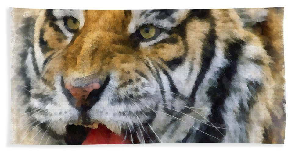 Aquarell Hand Towel featuring the photograph Tiger 006 by Ingrid Smith-Johnsen