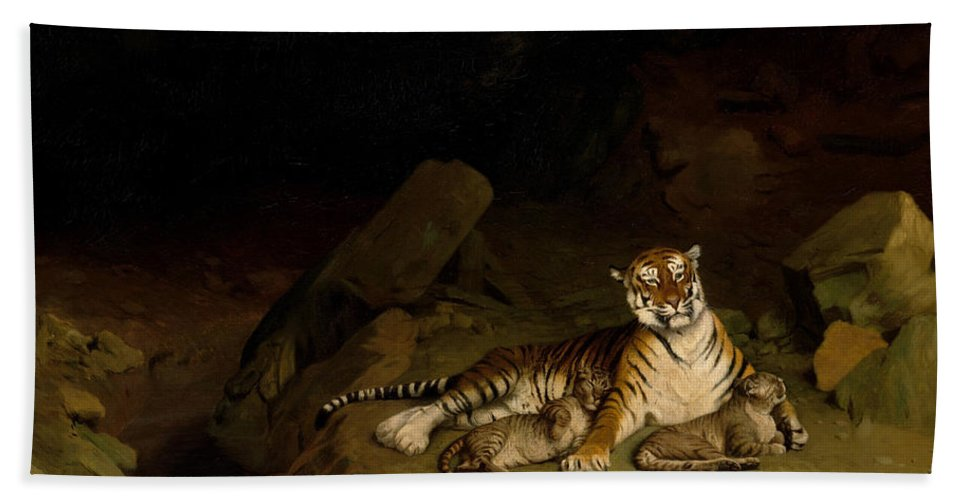 Jean-leon Gerome Hand Towel featuring the painting Tiger And Cubs by Jean-Leon Gerome