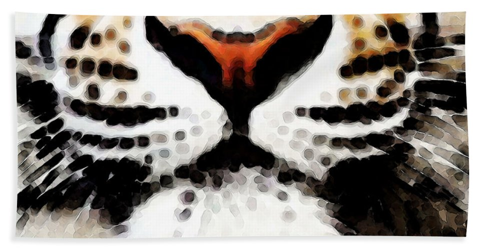 Tiger Bath Towel featuring the painting Tiger Art - Burning Bright by Sharon Cummings