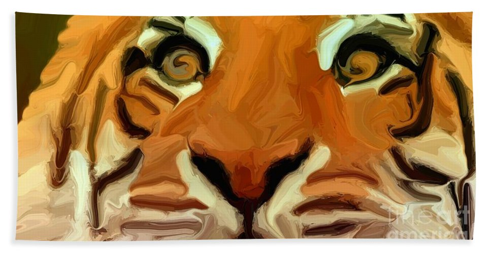 Tiger Hand Towel featuring the digital art Tiger by Chris Butler