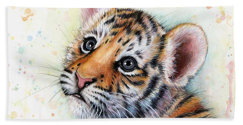 Tiger Bath Towel featuring the painting Tiger Cub Watercolor Art by Olga Shvartsur