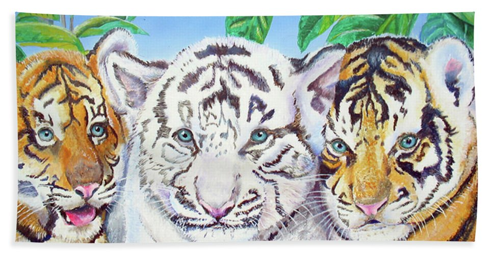 White Tiger Hand Towel featuring the painting Tiger Cubs by Thomas J Herring