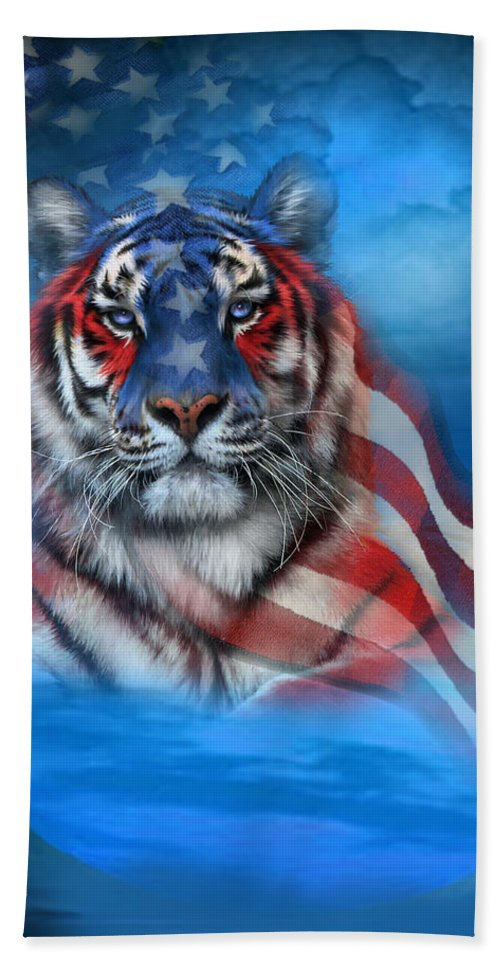 Carol Cavalaris Hand Towel featuring the mixed media Tiger Flag by Carol Cavalaris