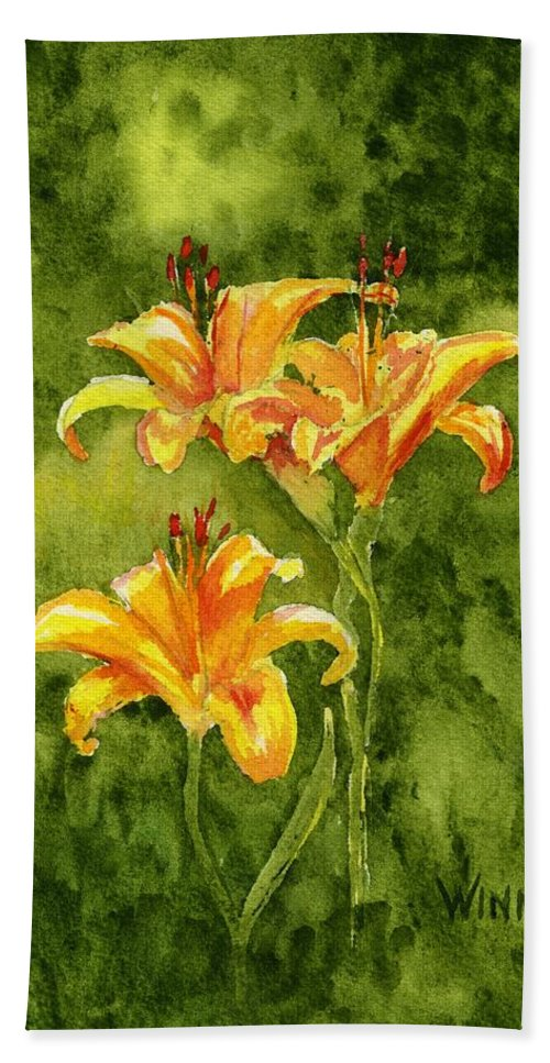 Floral Hand Towel featuring the painting Tiger Lilies by Brett Winn