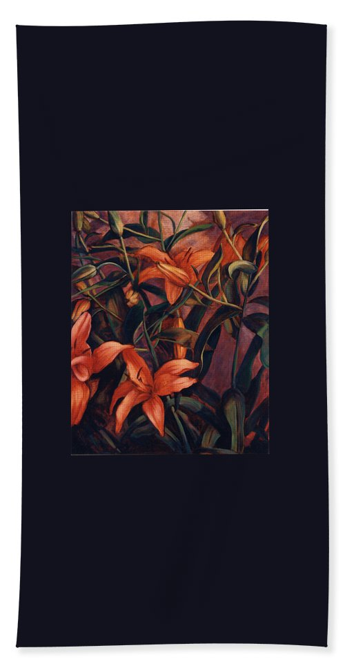 Tiger Bath Sheet featuring the painting Tiger Lilies by Konnie Kim
