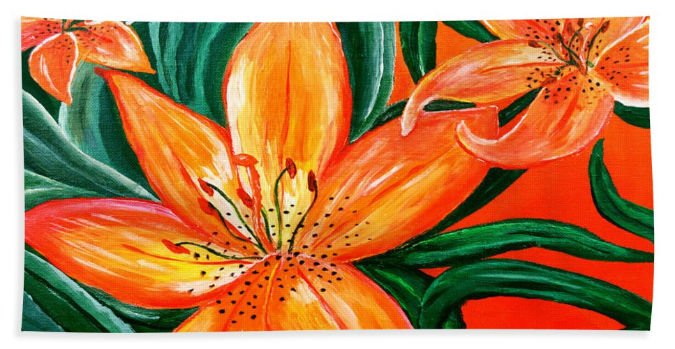 Acrylic Painting Bath Sheet featuring the painting Tiger Lily Trio by Sherry Allen