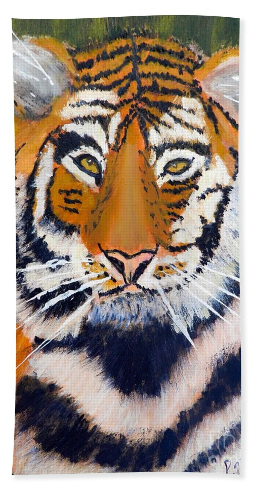 Impressionism Hand Towel featuring the painting Tiger by Pamela Meredith