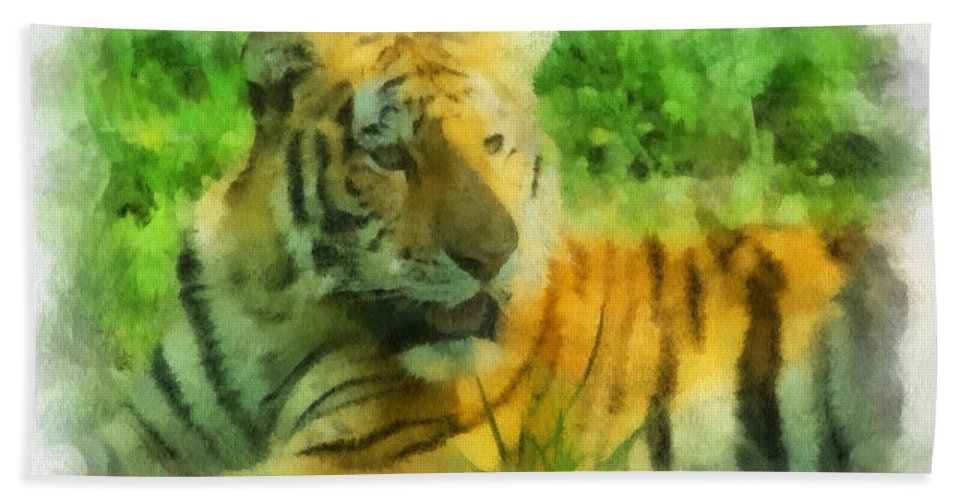 Feline Hand Towel featuring the photograph Tiger Resting Photo Art 01 by Thomas Woolworth