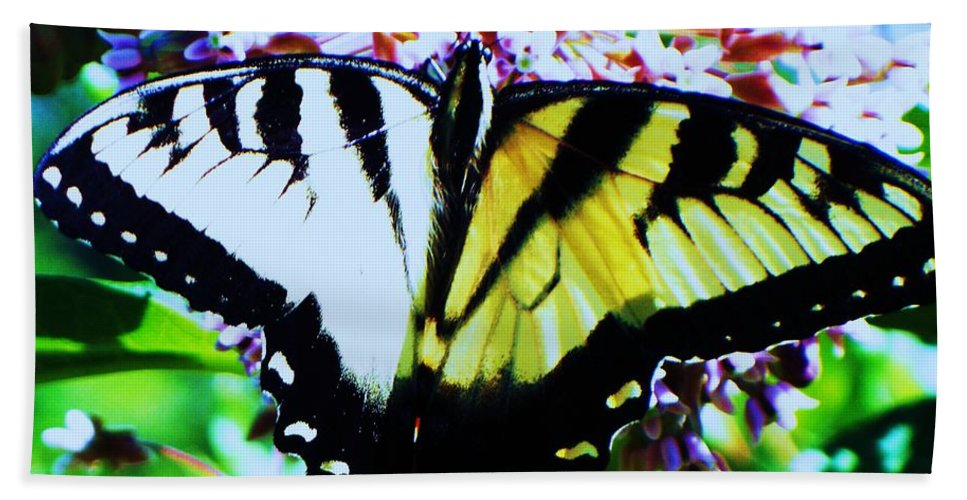 Butterfly Bath Sheet featuring the photograph Tiger Swallowtail Butterfly by Eric Schiabor