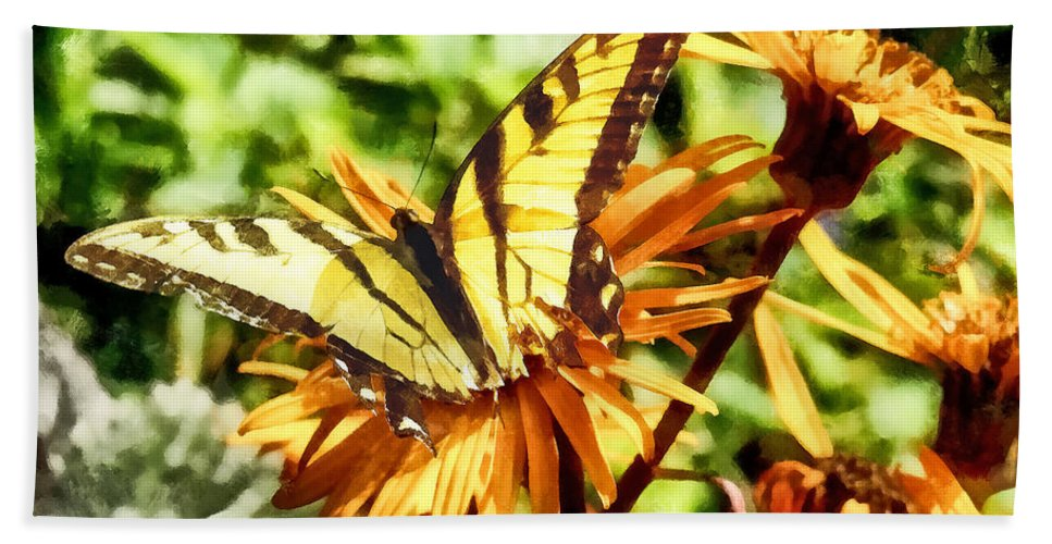 Butterfly Bath Sheet featuring the photograph Tiger Swallowtail On Yellow Wildflower by Susan Savad