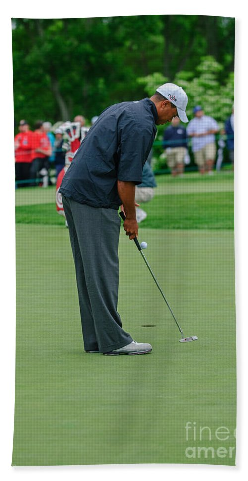Tiger Woods Hand Towel featuring the photograph D12w-457 Tiger Woods by Ohio Stock Photography
