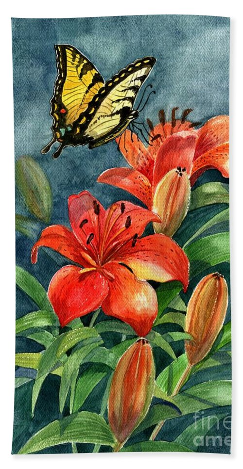 Butterflies Bath Sheet featuring the painting Tigers by Marilyn Smith
