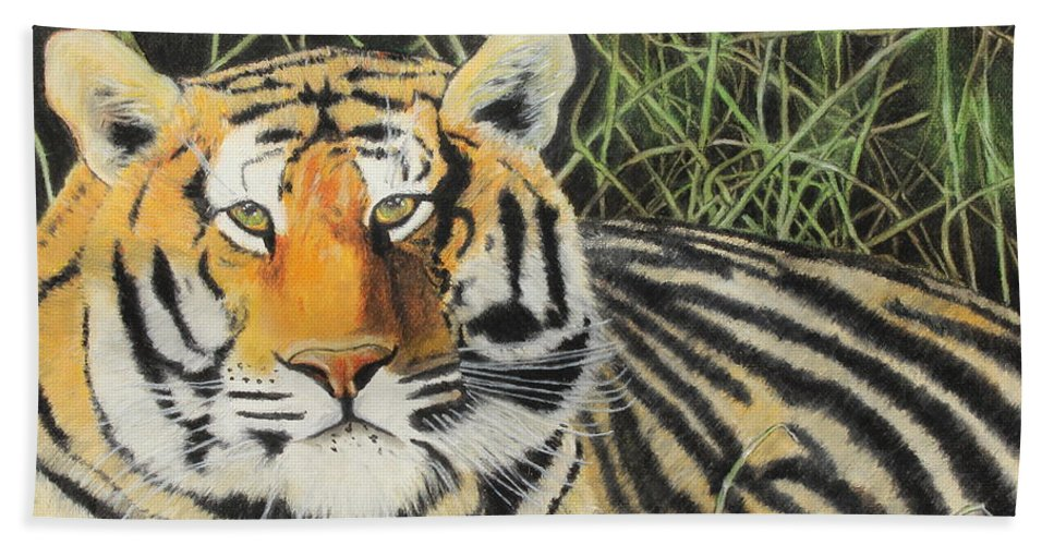 Wildlife Bath Sheet featuring the painting Tigress by Jeanne Fischer