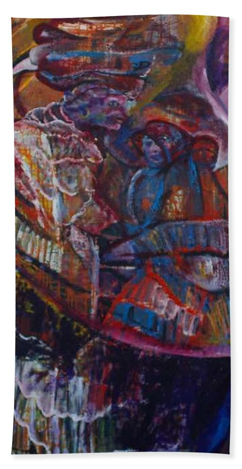 African Women Bath Towel featuring the painting Tikor Woman by Peggy Blood