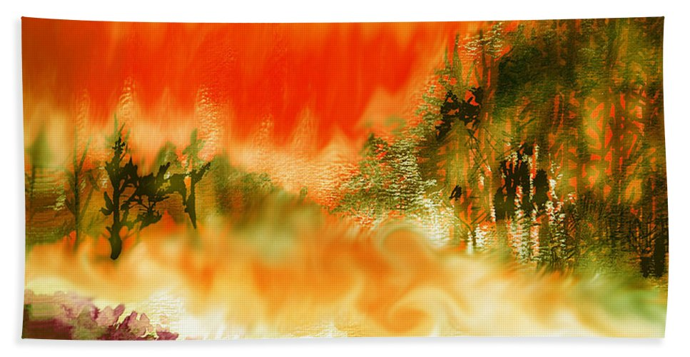 Timber Blaze Bath Sheet featuring the mixed media Timber Blaze by Seth Weaver