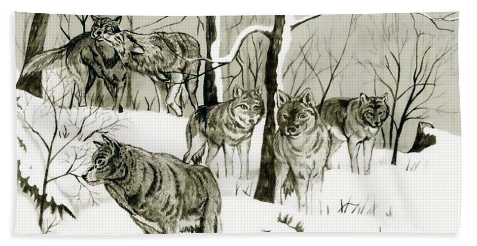 Landscape Hand Towel featuring the drawing Timber Wolf Pack by Anthony Seeker