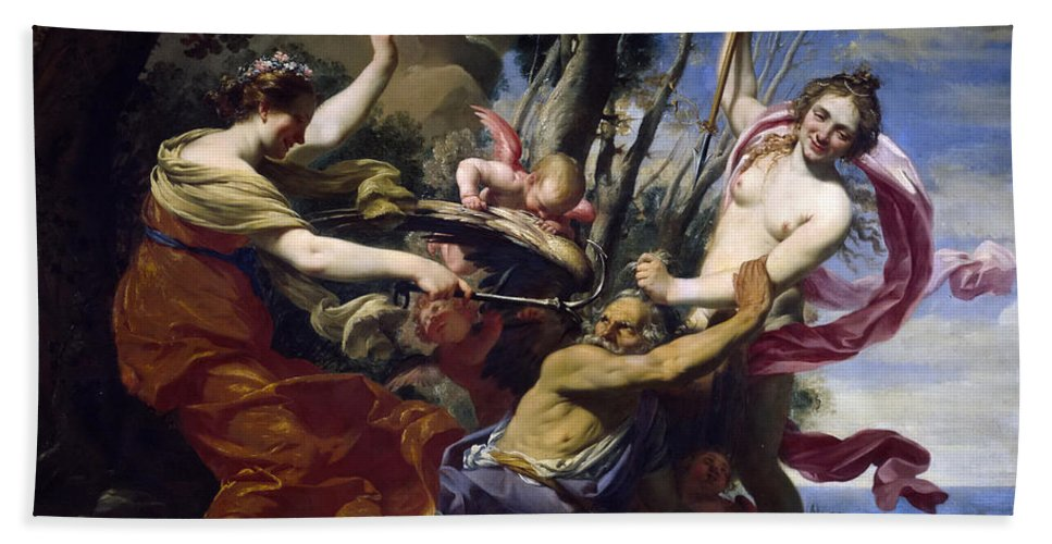 Simon Vouet Hand Towel featuring the painting Time Defeated By Hope Love And Beauty by Simon Vouet
