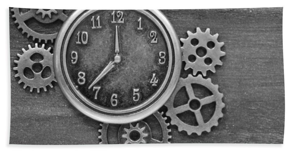 Clock Hand Towel featuring the photograph Time In Black And White by Meganne Peck