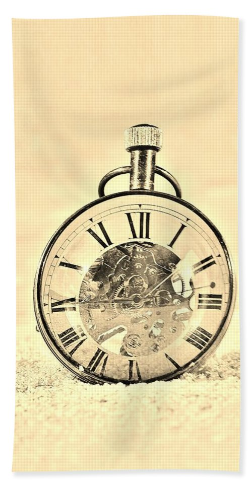Time Peice Bath Sheet featuring the photograph Time In The Sand In Sepia by Rob Hans