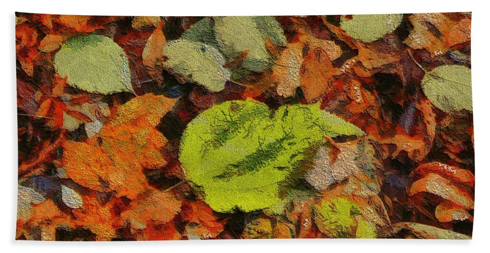 Autumn Hue Hand Towel featuring the painting Time Of The Season by Dan Sproul