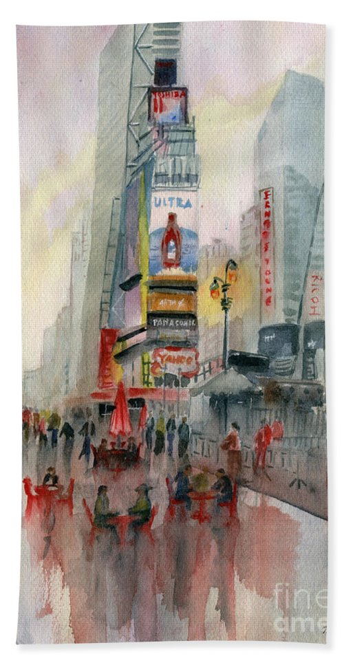 Time Square New York Hand Towel featuring the painting Time Square New York by Melly Terpening