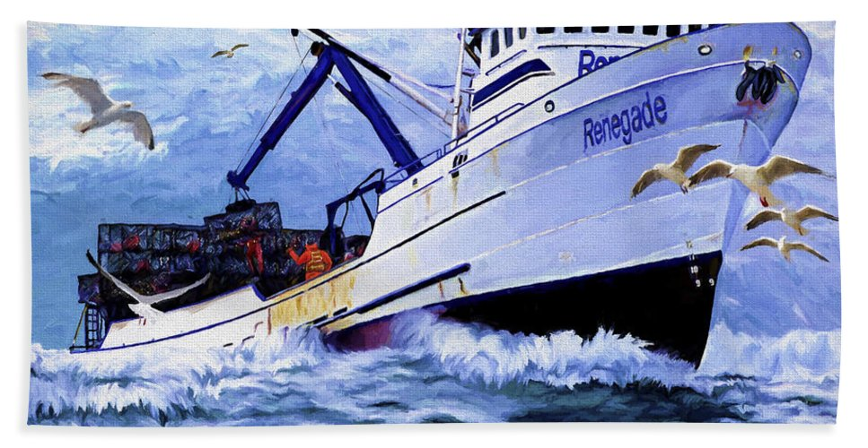 Alaskan King Crabber Hand Towel featuring the painting Time To Go Home by David Wagner