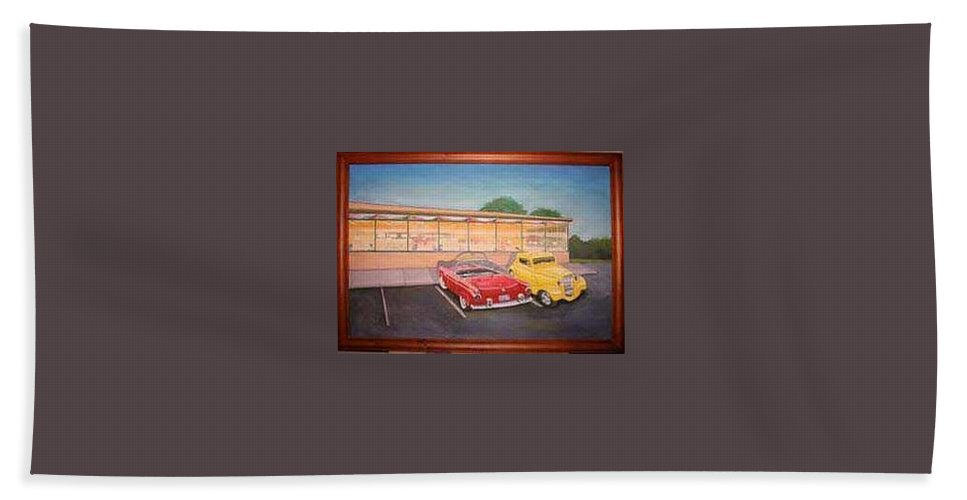 Rick Huotari Bath Sheet featuring the painting Times Past Diner by Rick Huotari