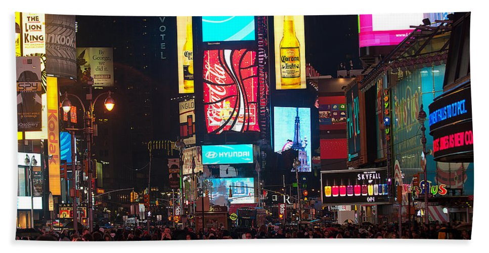 """new York City"" Hand Towel featuring the photograph Times Square Crowds by Paul Mangold"