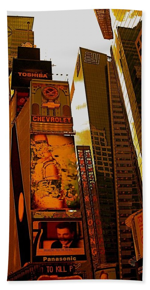 Manhattan Posters And Prints Bath Sheet featuring the photograph Times Square In Manhattan by Monique's Fine Art