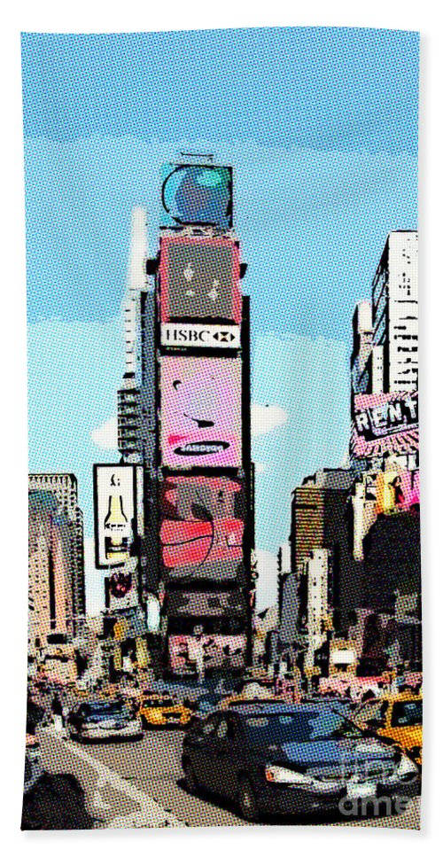 Times Square Hand Towel featuring the digital art Times Square Nyc Cartoon-style by Liz Leyden