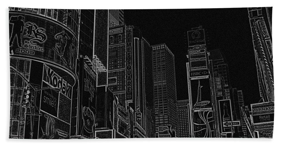 Times Square Bath Sheet featuring the digital art Times Square Nyc White On Black by Meandering Photography