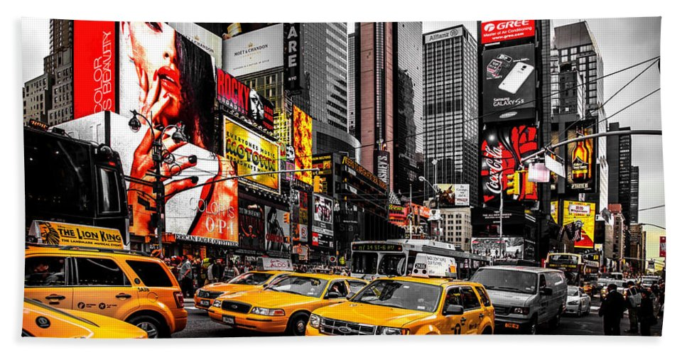 Times Square Bath Towel featuring the photograph Times Square Taxis by Az Jackson