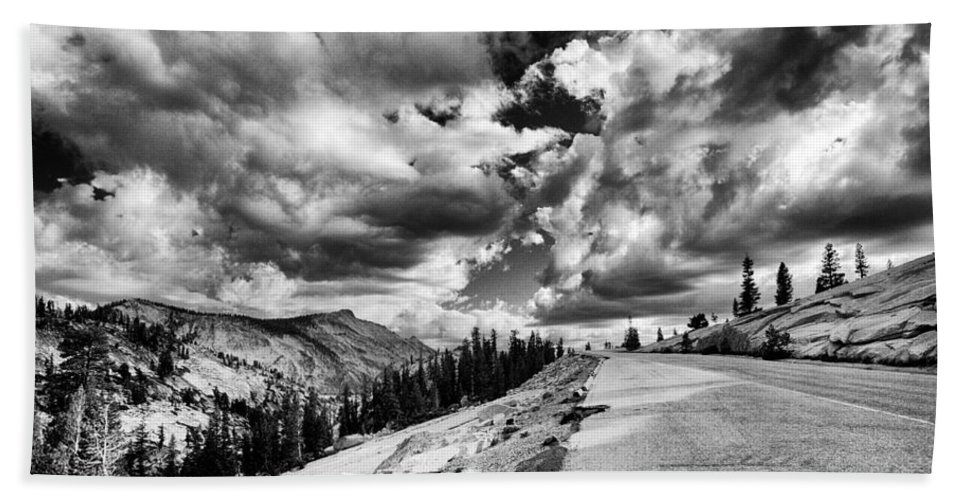Road Bath Sheet featuring the photograph Tioga Pass by Cat Connor