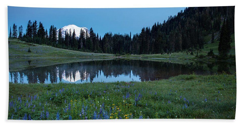 Rainier Hand Towel featuring the photograph Tipsoo Morning Meadows by Mike Reid