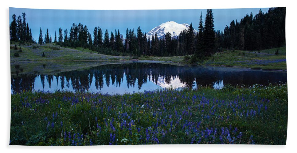 Rainier Hand Towel featuring the photograph Tipsoo Reflection Tranquility by Mike Reid