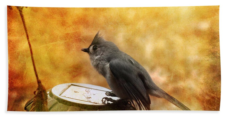 Titmouse Hand Towel featuring the photograph Titmouse In The Rain by Karen Beasley