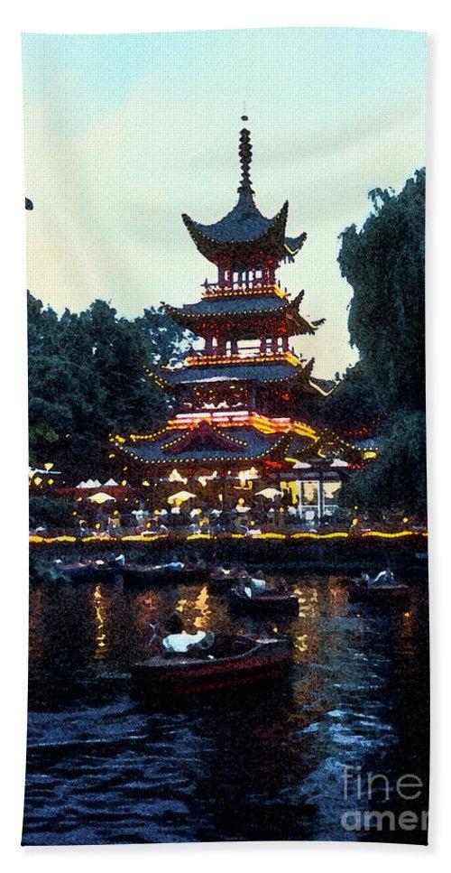 Tivoli Gardens Hand Towel featuring the photograph Tivoli Pagoda 4 by Bob Phillips