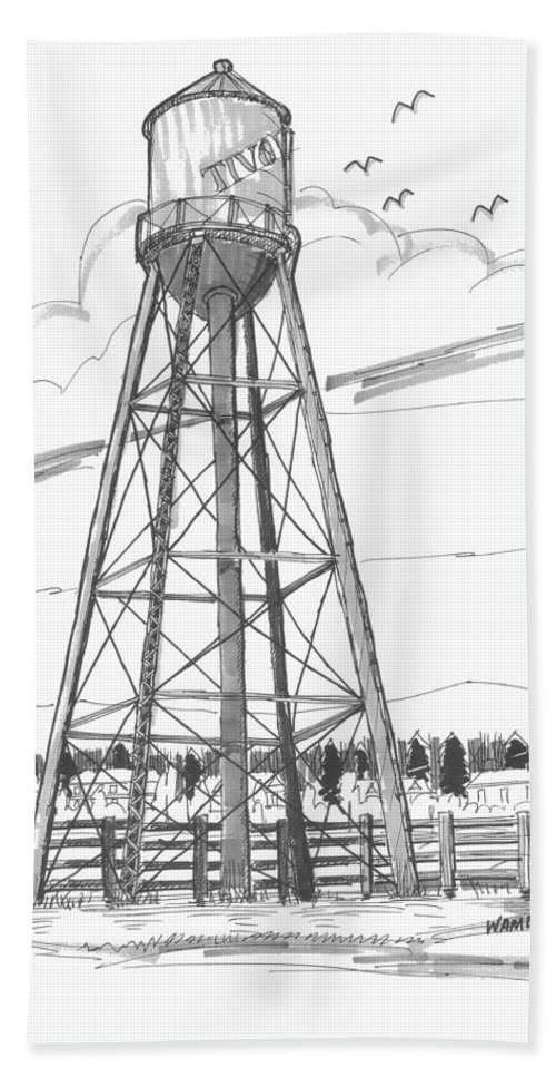 Tivoli Water Tower Hand Towel featuring the drawing Tivoli Water Tower by Richard Wambach