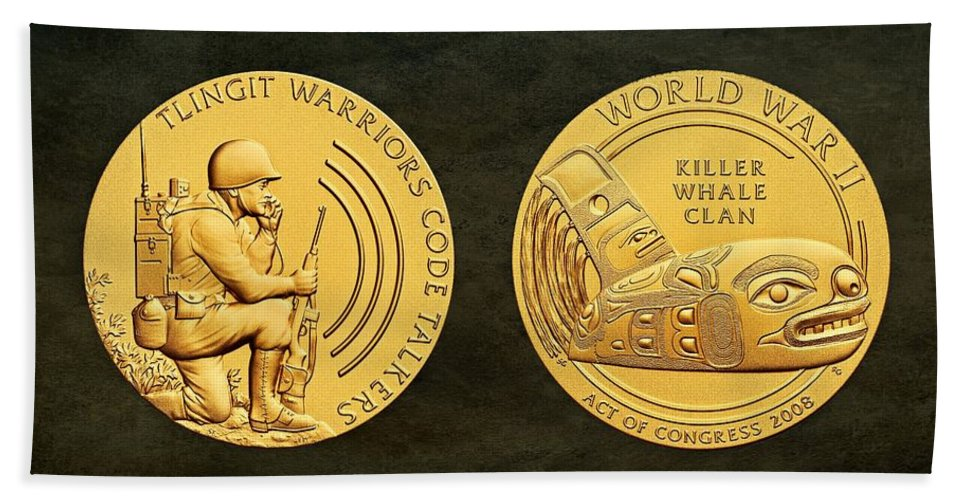 Tlingit Tribe Bath Sheet featuring the photograph Tlingit Tribe Code Talkers Bronze Medal Art by Movie Poster Prints