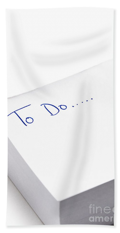 To Do List Hand Towel featuring the photograph To Do List Written On Post It Note Pad by Lee Avison