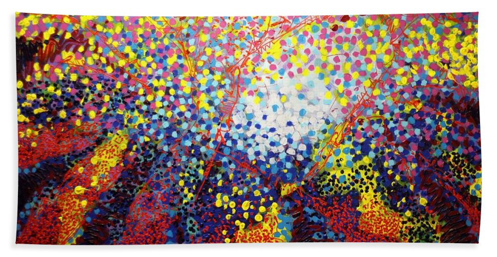 Abstract Hand Towel featuring the painting To Make Visible The Invisible Viii by John Nolan