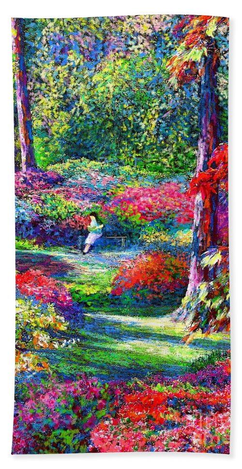 Garden Hand Towel featuring the painting To Read And Dream by Jane Small